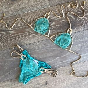 RARE beach bunny bikini tiffany blue with lace